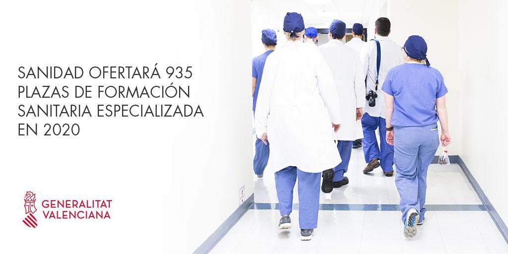Sanidad ofertará 935 plazas de formación sanitaria especializada en 2020 en la Comunitat Valenciana